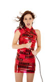 Woman danger cord shock Royalty Free Stock Image