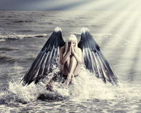 Woman with dark angel wings Stock Photography