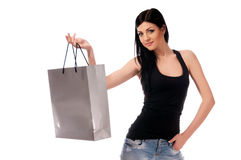 A woman in a dark blouse Stock Photography