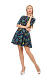 Woman in dark blue floral dress isolated on white Stock Image