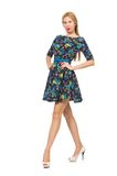 Woman in dark blue floral dress isolated on the Royalty Free Stock Photography