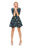 Woman in dark blue floral dress isolated on white Royalty Free Stock Photo