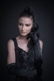 Woman with dark clothing. Portrait of sexy woman with dark clothing Royalty Free Stock Photo