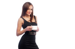 Woman in a dark dress with a cup Royalty Free Stock Photos