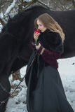 Woman in a dark dress with a red rose in winter Royalty Free Stock Photos
