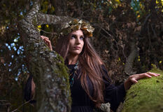 Woman in dark forest Stock Photo