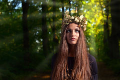 Woman in dark forest Stock Image