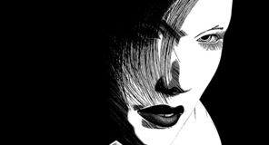 Woman dark gaze. Woman looking up from something to look at the camera vector illustration