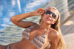 Woman in dark glasses Royalty Free Stock Photography