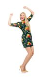 Woman in dark green floral dress isolated on white Stock Photo
