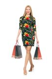 Woman in dark green floral dress isolated on white Royalty Free Stock Photography