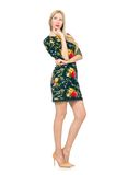 Woman in dark green floral dress isolated on the Stock Images