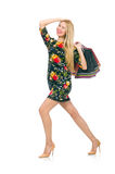 Woman in dark green floral dress isolated on the Royalty Free Stock Photo