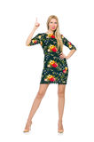 Woman in dark green floral dress isolated on white Royalty Free Stock Image