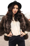 Woman with dark hair in elegant clothes and luxurious fur coat Royalty Free Stock Photos