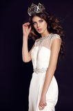 Woman with dark hair in elegant dress with luxurious crown Royalty Free Stock Photo