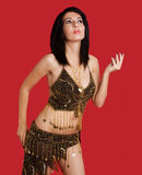 Woman with dark hair in goddess costume Royalty Free Stock Photo