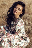Woman with dark hair wears luxurious colorful dress posing in summer field Royalty Free Stock Images
