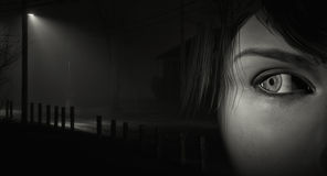 Woman on dark street. Black and white image of woman near a dark street checking behind her stock illustration