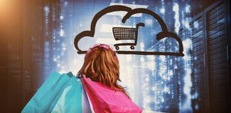Woman in a data center holding shopping bags  3d Stock Images