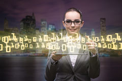 The woman in data management concept with tablet Royalty Free Stock Images