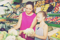 Woman with daughter buying cabbage in vegetables section. Glad women with daughter buying cabbage in vegetables section in supermarket stock image