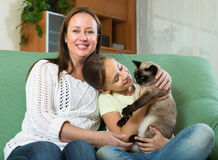 Woman and daughter with cat at home Stock Image