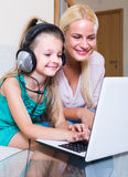 Woman and daughter chatting online Royalty Free Stock Photo