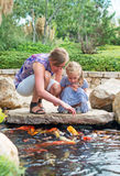 Woman and daughter feeding fishes. Stock Photo