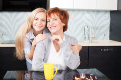 Woman with daughter on kitchen Stock Photo