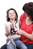 Woman and daughter Little girl dries hair isolated Stock Image