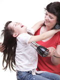 Woman and daughter Little girl dries hair isolated Royalty Free Stock Photography