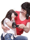 Woman and daughter Little girl dries hair isolated Stock Photography