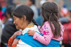 Woman and daughter at the Otavalo market, Ecuador Stock Image