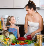 Woman and  daughter preparing healthy meal Stock Photo
