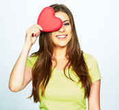 Woman day concept portrait with model holding heart Stock Images