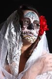 Woman with Day of the Dead Face Paint Royalty Free Stock Photo