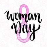 Woman Day hand drawn lettering. 8 march greeting card. International holiday. Black ink vector design. Woman Day hand drawn lettering. 8 march greeting card Royalty Free Stock Image