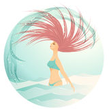 Woman in day light flipping her hair. Travel, vacation, joy Royalty Free Stock Photo