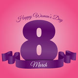 Woman day 8 march pink violet card  eps 10 Royalty Free Stock Image