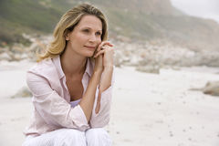 Woman Daydreaming At Beach Stock Photography