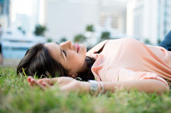 Woman daydreaming Royalty Free Stock Photos