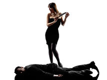 Woman dead body  criminals investigations  silhouettes Stock Photography