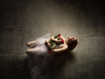 woman dead with flowers Stock Image