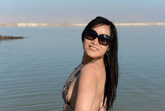 Woman beside Dead Sea, Israel Stock Photo