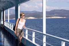 Woman on the deck of the ferry Royalty Free Stock Images