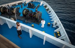 Woman on deck of ferry boat in Greece stock image