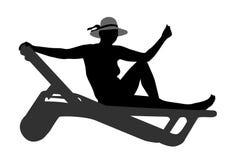 Woman on deckchair silhouette stock illustration