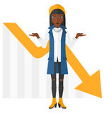 Woman with declining chart Stock Image