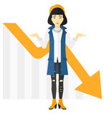 Woman with declining chart. stock illustration